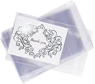 """Clear Resealable Display Cellophane Bags Gift Treat Basket Supplies, Adhesive Closure for Snacks, Cards, Envelope Letters, Candy, Party Supplies (100 Bags) by Super Z Outlet (5"""" x 7"""")"""
