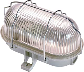 AS-Schwabe 56200 - Lámpara Ovalada (60 W, 230 V, para Bombilla E27, no Incluye Bombilla, protección IP44), Color Gris