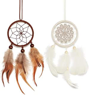 Dahey Mini Dream Catcher for Rear View Mirror Car Charm Ornament Small Dream Cather with Feather Wall Hanging Decor for Kids Bedroom Nursey Room Party Decor,Set of 2