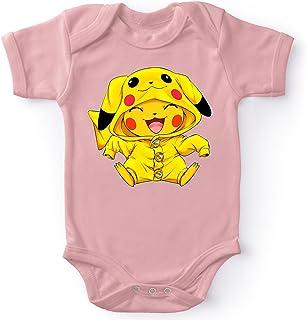 Okiwoki Body bébé Manches Courtes Filles Rose Parodie Pokémon - Pikachu Cosplayé en. Pikachu ! - Imbattable dans Les Conco...