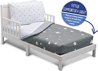Delta Children Toddler Bedding Set   Boys 4 Piece Collection   Fitted Sheet, Flat Top Sheet w/Elastic Bottom, Fitted Comforter w/Elastic Bottom, Pillowcase, Dusty Skies   Grey