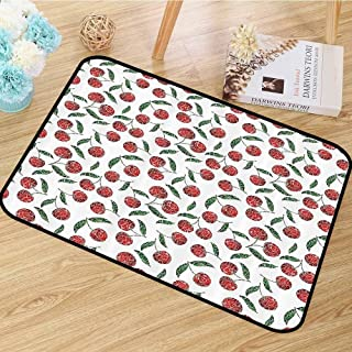 Garden Decor Area Floor Rugs Grunge Mosaic Style Cherries Seasonal Ripe Sweet Fruits Fresh Orchard Harvest Dining Room Home Bedroom W55 x L78 Red Green