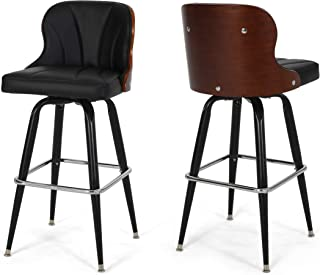 Christopher Knight Home Sydney Barstool with Adjustable Height and 360-Swivel, Black and Silver Finish, Brown