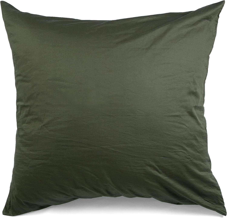 ATsense Juego de 2 fundas de almohada de 40 x 40 cm, 100 % algodón, con cremallera, color verde militar, muy suave, muy transpirable, funda de almohada hipoalergénica