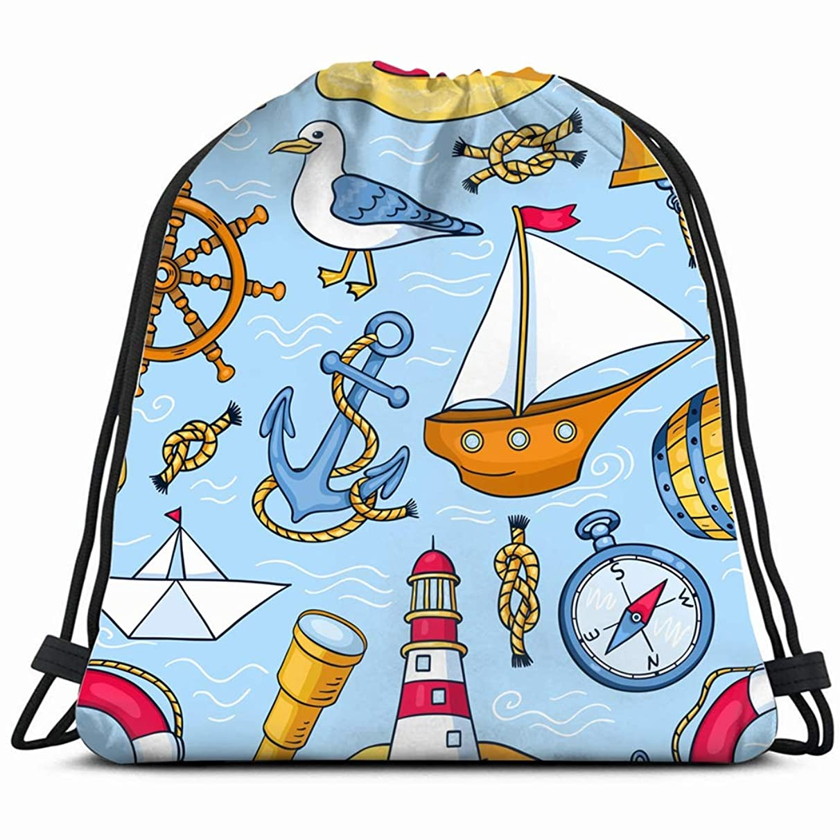 sea objects cartoon nature nautical transportation Drawstring Backpack Gym Sack Lightweight Bag Water Resistant Gym Backpack for Women&Men for Sports,Travelling,Hiking,Camping,Shopping Yoga