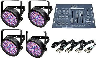 NEW! 4 Chauvet SlimPar 56 LED Pro DJ RGB Lights + Obey 3 Controller + DMX Cables