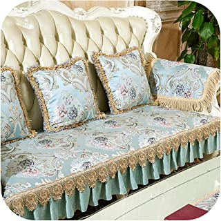 Home Furnishing Decoration Europe Style Luxury Floral Jacquard Embroidery Sectional Sofa Covers Ruffles Lace Spliced Slipcovers-Blue Per Pic-90Cm240Cm 1Piece