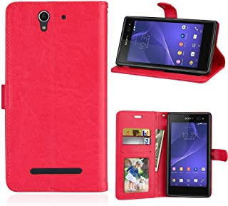 TOTOOSE Sony Xperia C3 Case, Sony Xperia C3 New Folio Flip Cover Pouch Slim Shell for Sony Xperia C3 (Red)