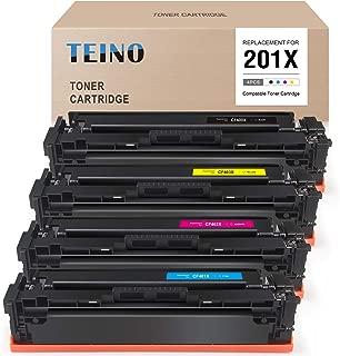 TEINO Compatible Toner Cartridge Replacement for HP 201X 201A CF400X CF401X CF402X CF403X CF400A for Color Laserjet Pro MFP M277dw M252dw M252 M277c6 M277n M252n (Black, Cyan, Magenta, Yellow)