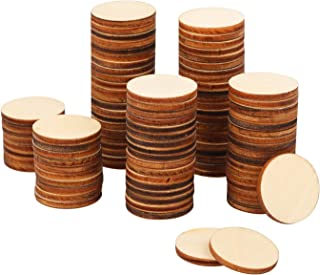 Belerry 1 Inch 200 PCS Wood Round Blank Slices Unfinished Wooden Discs Embellishment Cutouts Ornaments for DIY Art Craft Making Wedding Party Decoration