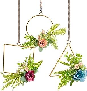 Pauwer Floral Hoop Wreath Set of 3 Artificial Rose Flower with Fern Greenery Leaves Wall Hanging Metal Hoop Garland for Wedding Backdrop Nursery Decor