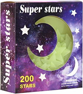 3D Star and Moon Self Adhesive Wall Stickers Luminous in the Dark , 200 Pcs Reusable Stars Decorate Kids Bedroom Ceiling