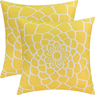 CaliTime Pack of 2 Soft Canvas Throw Pillow Covers Cases for Couch Sofa Home Decor Dahlia Floral Outline Both Sides Print 20 X 20 Inches Maize Yellow