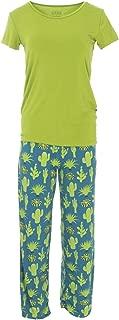 Women's Short Sleeve Loosey Goosey Tee & Pant Set (Seagrass Cactus - M)