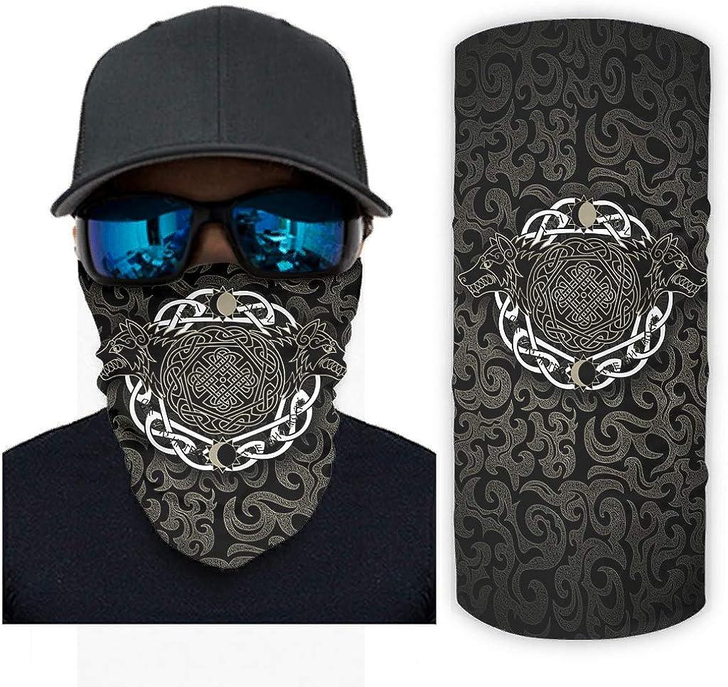 Viking Wolf Bandanas Multifunctional Face Covering Tube Scarf for Workout Yoga Hiking Riding for Men Women