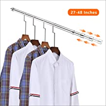 ASHOP Adjustable Closet Rod Heavy Duty Closet Rods Stainless Steel Brush Nickel Extension Rod for 27-48 Inches Clothes Rod with 2 Brackets for Wardrobes Closet Shower Window Curtain