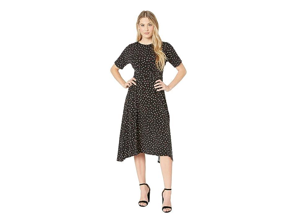 London Times Short Sleeve Hankie Hem w/ Waist Detail Dress (Black/Apple) Women