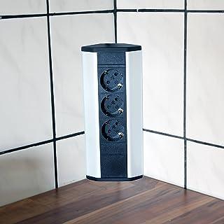 Steckdose für Küche und Büro – Ecksteckdose aus Aluminium und hochwertigem Kunststoff ideal für Arbeitsplatte, Tischsteckd...