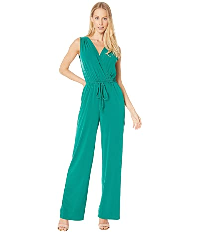 BCBGeneration Sleeveless Surplice Jumpsuit (Pine Green) Women