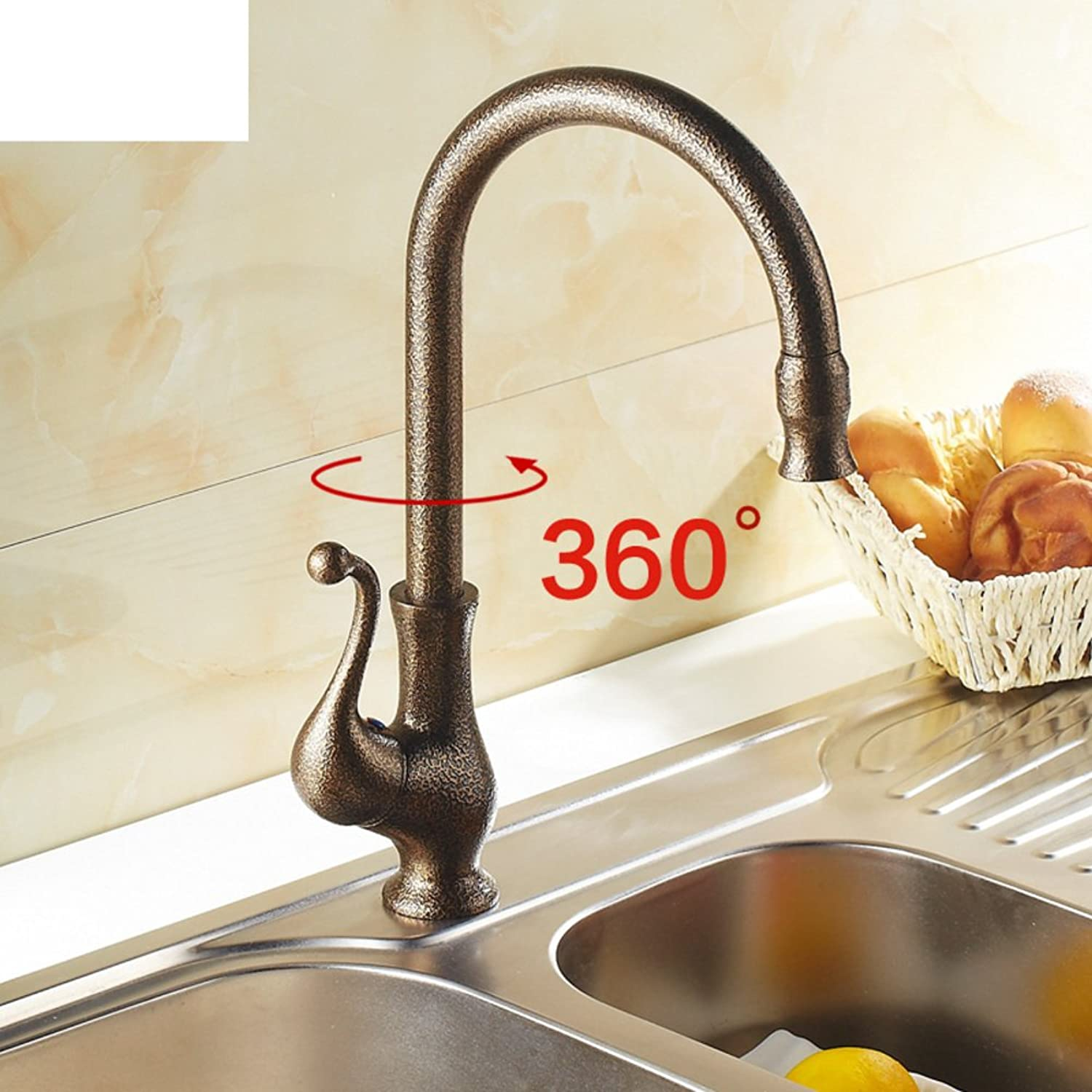 HCP All copper antique hot and cold sink Kitchen faucet-A