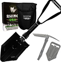 Rhino USA Folding Survival Shovel w/Pick - Heavy Duty Carbon Steel Military Style Entrenching Tool for Off Road, Camping, Gardening, Beach, Digging Dirt, Sand, Mud & Snow - Guaranteed for Life!