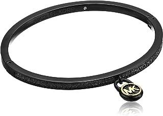 Michael Kors Black Steel & Pavé Padlock Hinged Bracelet