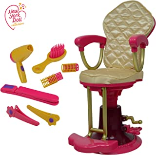 The New York Doll Collection Salon Chair for 18 Inch American Girl Dolls - Hair Styling Accessories Includes Hair Brush - Fun AG Retro Doll Play Set