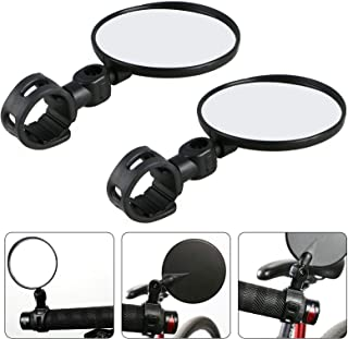 EEEKit 2-Pack Bundle Universal Mini Rotary Rearview Handlebar Glass Mirror for Mountain Road Bike Cycling Bicycle