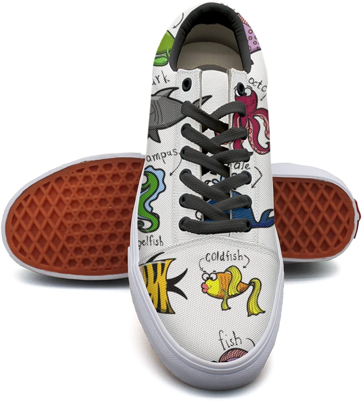 Big Set Of Cartoon Marine Animals Women's Casual Sneakers shoes Canvas Classic Fashion Designer