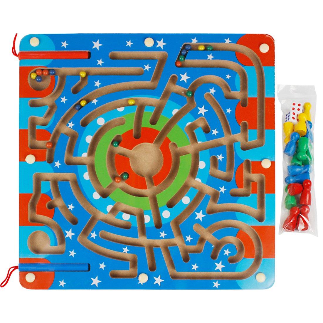 Andux Zone 2 en 1 Madera Laberinto Magnético Puzzle Maze Juego de Tablero de Madera Ajedrez de vuelo Animales Número Laberinto Juguetes para niños CXMG-01 (Estrellas): Amazon.es: Juguetes y juegos