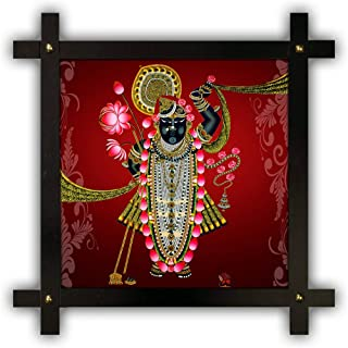 Poster n Frames Cross Wooden Frame Hand-Crafted with Photo of Shrinathji Nathdwara 20770-(16.5x16.5inch,wood,multicolour)