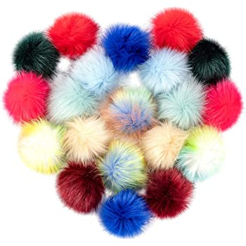 Style1, 12 pcs 12pcs DIY Faux Fox Fur Pom Pom Balls for Knitting Hat Fluffy Pom Poms for Crocheted Hats Shoes Bags 4 Diameter
