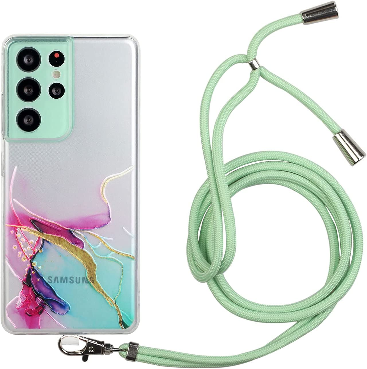 Compatible for Samsung Galaxy A02S Case with a Crossbody Belt Adjustable Necklace Case Painted Lanyard TPU Protective Cover Suitable for Samsung Galaxy A02S,Green