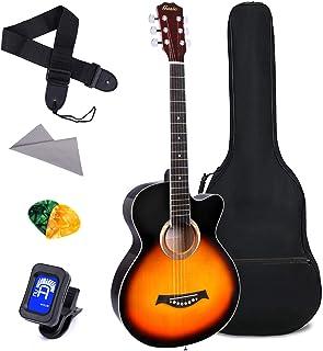 Acoustic Guitar for Beginner 38 Inch Kid Guitar Steel Strings Guitar Starter Bundle Cutaway with Gig Bag Clip Tuner Strap ...