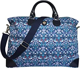 Bonfanti Liberty Strawberry Thief Print and Leather Weekend Cabin Bag Holdall - Blue