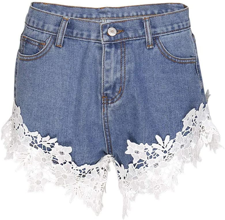 CDDKJDS Women's Applique High Waist Lace Hot Shorts Summer Women's Beach Vacation Short Jeans Ripped Holes Washed Denim Shorts Women (Color : Style A-White, Size : XL)