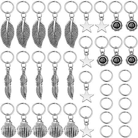 Lurrose 35 Piezas Anillos de Trenza de Pelo Rastas de Metal Cuentas de Cabello Decoración Trenzado Joyería de Cabello para Mujeres Hombres (Plata)