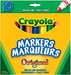 Crayola 56-7708 10 Broad Line Markers Original, School and Craft Supplies, Drawing Gift for Boys and Girls, Kids, Teens Ag...