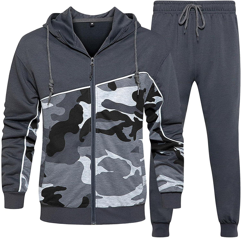 XUNFUN Mens Tracksuit 2 Piece Hoodie Long Sleeve Full Zip Camo Sweatshirts Solid Running Athletic Jogging Sweatpants Sets