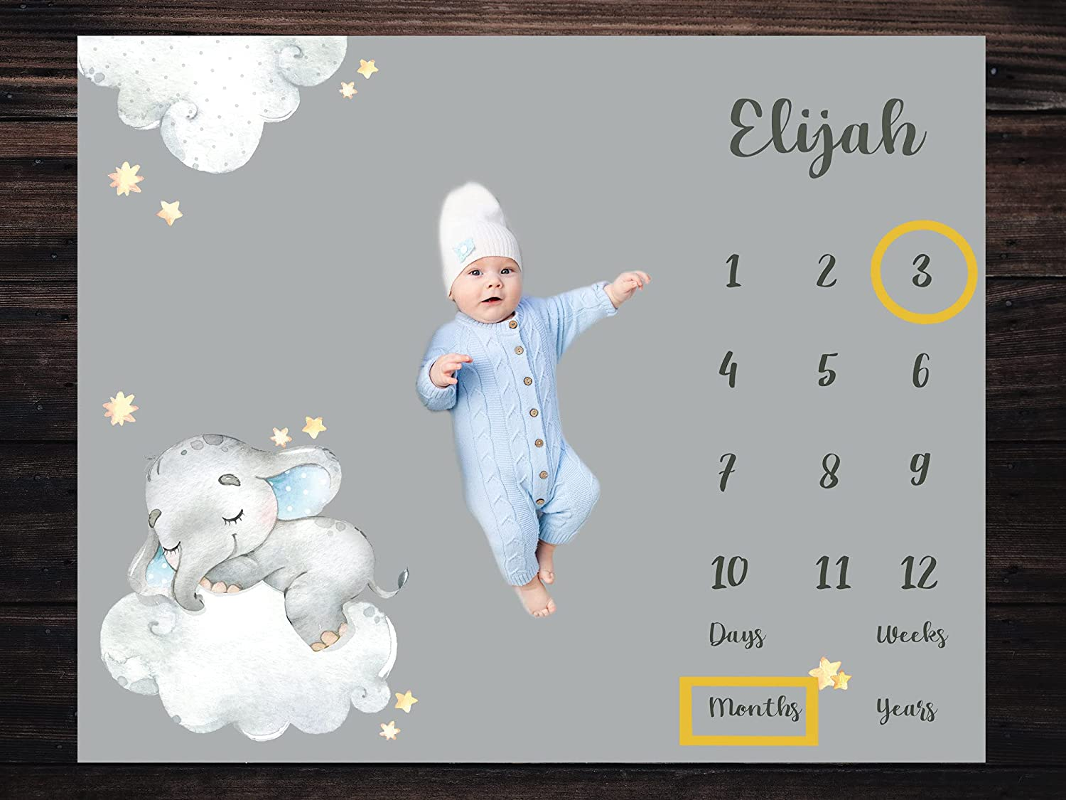 Personalized Price reduction OFFicial store Baby Milestone Blanket Boy Cu Unisex Girl Elephant