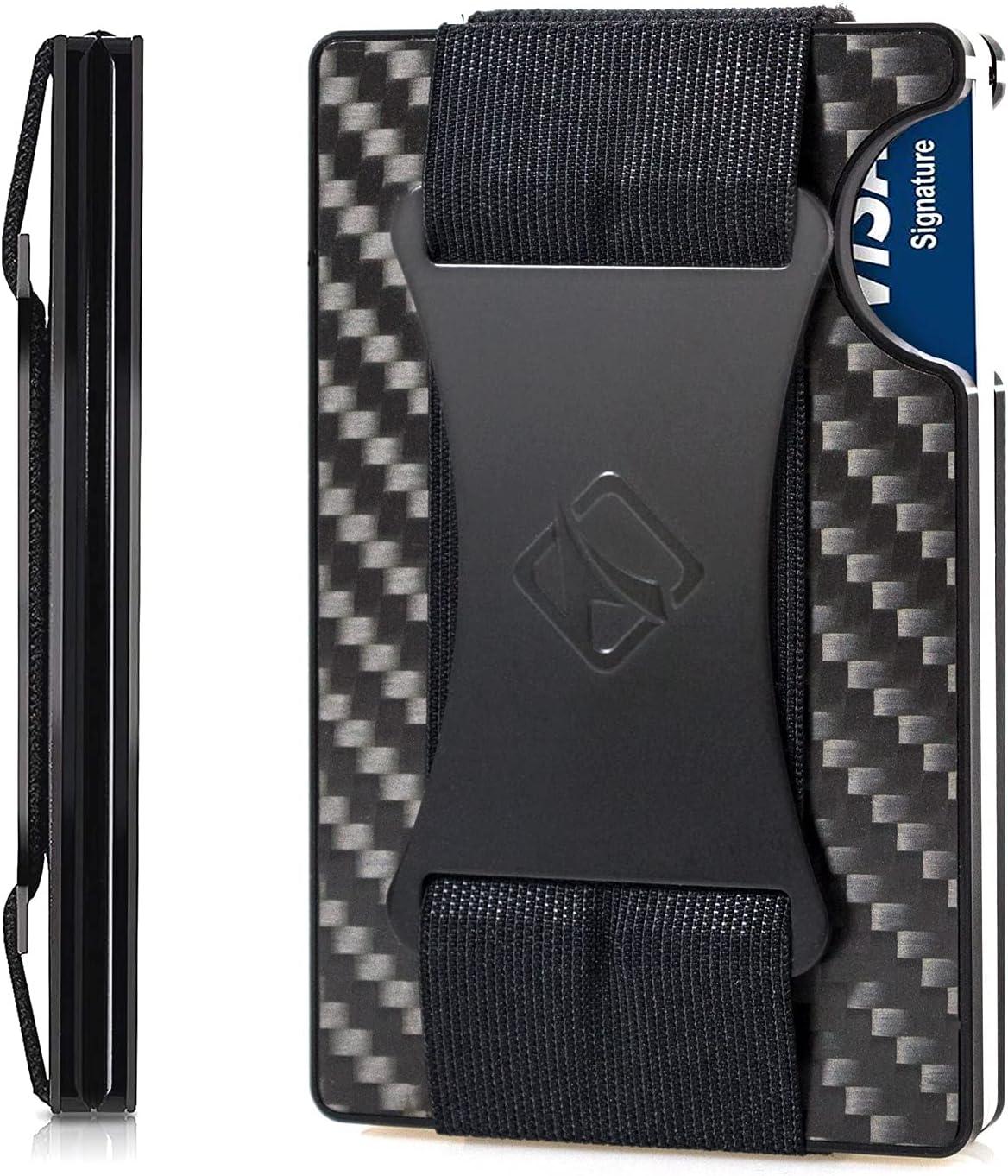 Minimalist Carbon Fiber Wallet, TUXON Metal Wallet with Cash Strap, RFID Blocking Credit Card Holder, Slim Front Pocket Wallet for Men