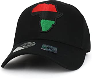 Trendy Apparel Shop Red Black Green Africa Map Embroidered Structured Baseball Cap