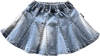 NABER Kids Girls' Casual Elastic Waistband Washed Denim A-Line Pleated Denim Skirt Age 4-13 Years
