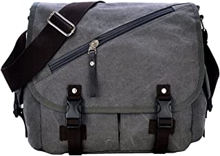 Rullar Canvas Messenger Bag Vintage Shoulder Laptop School Travel Military Crossbody Hiking Bag Tote Satchel Briefcase for Men and Women