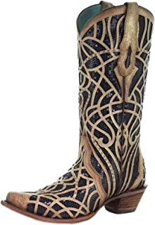 Corral Gold and Black Sequin Inlay and Embroidered Boots