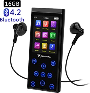 MP3 Player, 16GB MP3 Player with Bluetooth 4.2, Portable HiFi Lossless Sound MP3 Music Player with FM Radio/Voice Recorder/E-book, 2.4'' Screen, Support up to 128GB (Sport Armband, Headphone Included)