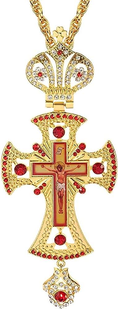 Ppqkkyd collana in argento sterling 925 placcato rodio  e zirconi con ciondolo a forma di crocifisso 9869797927447