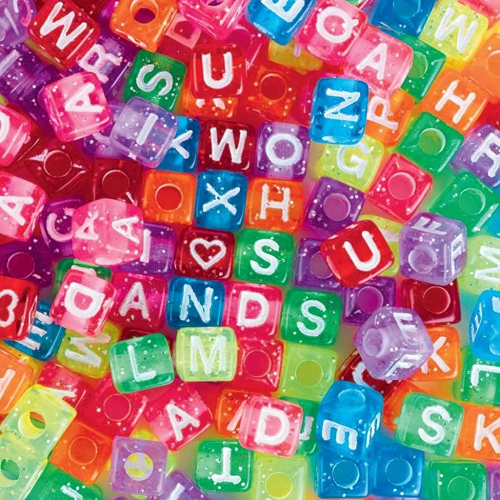 Glitter Alphabet Beads 1/2 lb. Bag