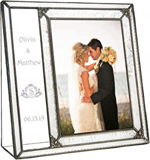 Wedding Picture Frame Personalized Gift Engraved Glass Keepsake Newly Wed Couple J Devlin Pic 393-57V EP632