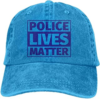 Men&Women Adjustable Denim Jeans Baseball Cap Police Lives Matter Snapback Cap